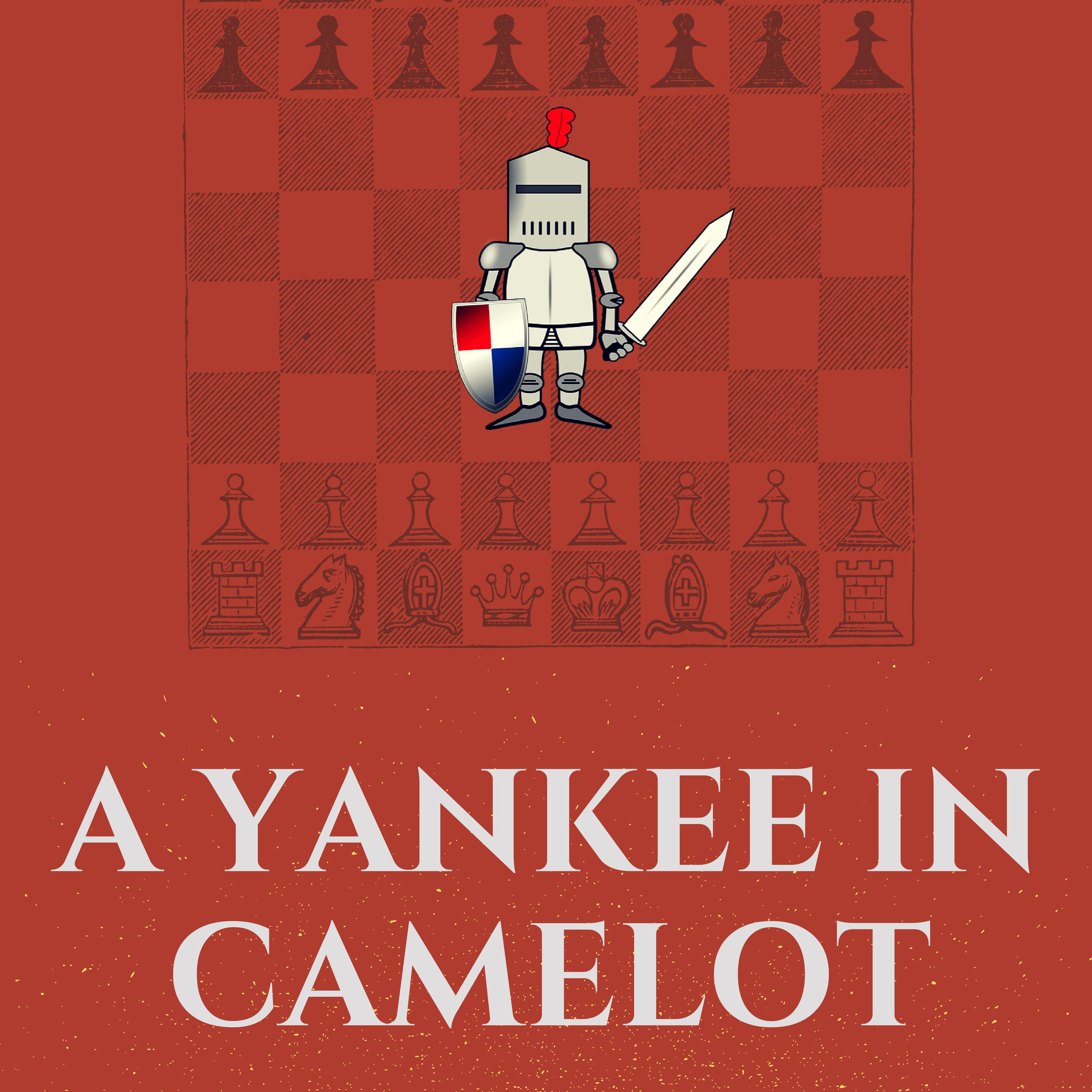 A red book cover with a cartoon image of a knight standing on a vintage chessboard.
