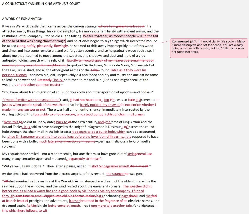 A black and white page marked with Microsoft Word edits noted in red.