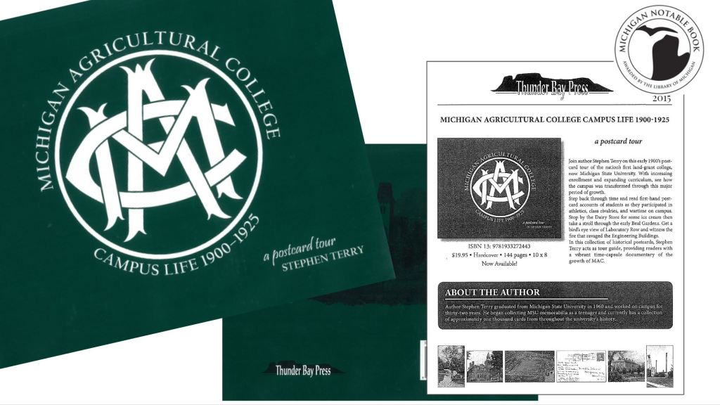 A green book, front and back cover, along with a black and white marketing document.